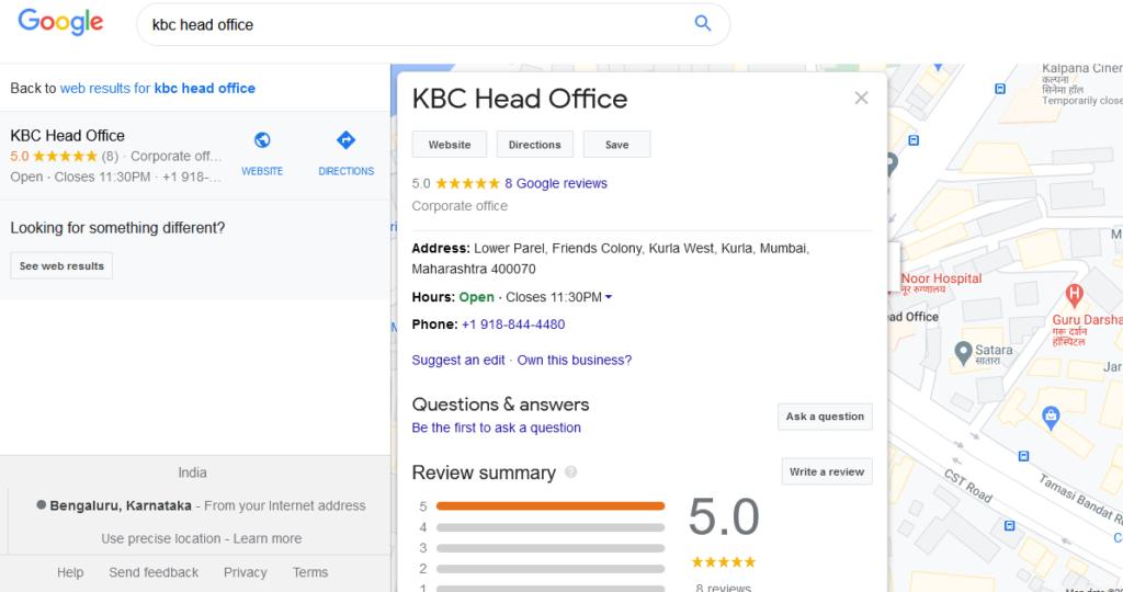 KBC Head Office Mumbai