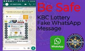 KBC Lottery Fake WhatsApp Message