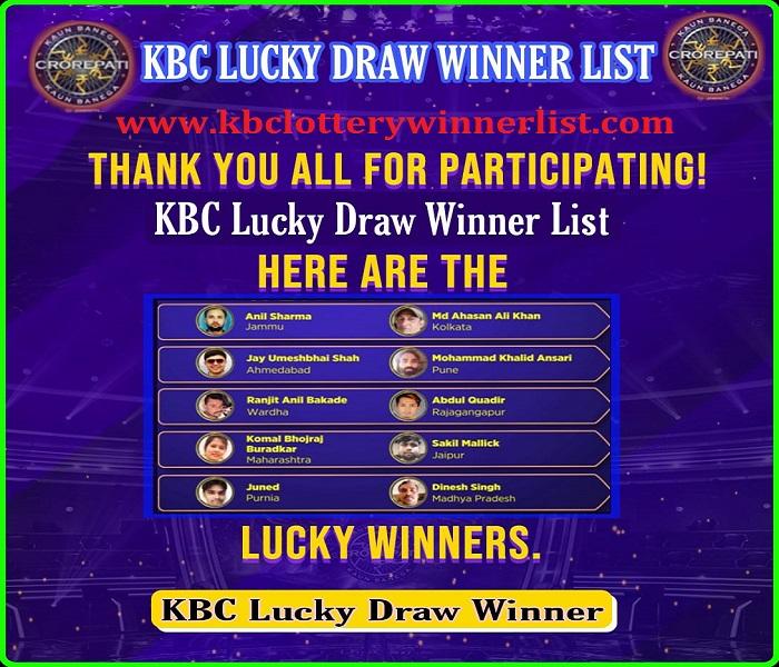 KBC Lucky Draw Winner List 2021